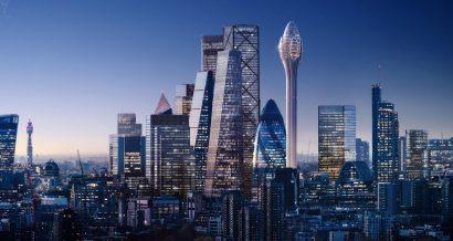 Wieża obserwacyjna The Tulip autorstwa Foster + Parners - wizualizacja na tle panoramy Londynu. Fot. Foster + Partners / thetulip.com