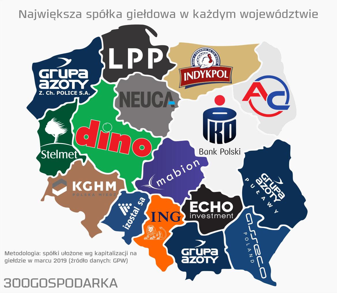 Największa spółka giełdowa w każdym województwie. Źródło: 300gospodarka.pl