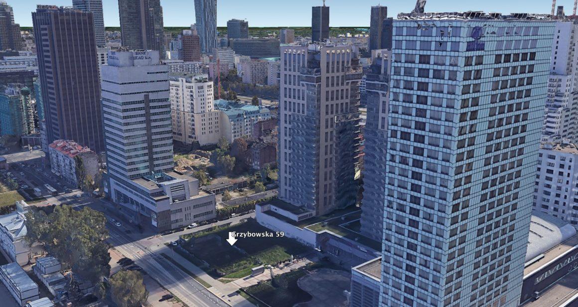 Działka Grzybowska 59 w Warszawie. Fot. Google Earth Pro