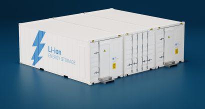 Baterie litowo-jonowe w kontenerach. Fot. Shutterstock