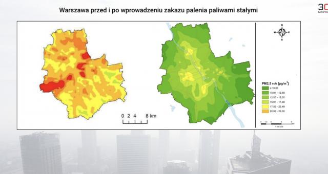 Warszawa przed i po wprowadzeniu zakazu spalania paliw stałych.