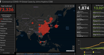 Rozwój koronawirusa - interaktywna mapa. Fot. John Hopkins University