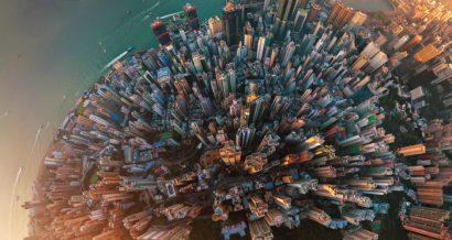 Widok z lotu ptaka na centrum Hongkongu