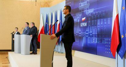 Premier Mateusz Morawiecki podczas konferencji prasowej. Fot. Fot. Adam Guz/KPRM