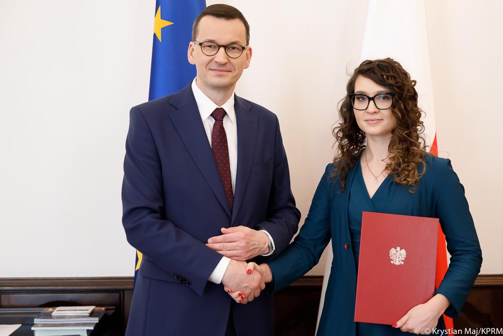 Justyna Orłowska i premier Mateusz Morawiecki