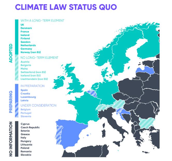 Mapa Europy a prawo dotyczące neutralności klimatycznej, źródło: Ecologic Institute, raport Climate Laws in Europe. Good practices in net-zero management