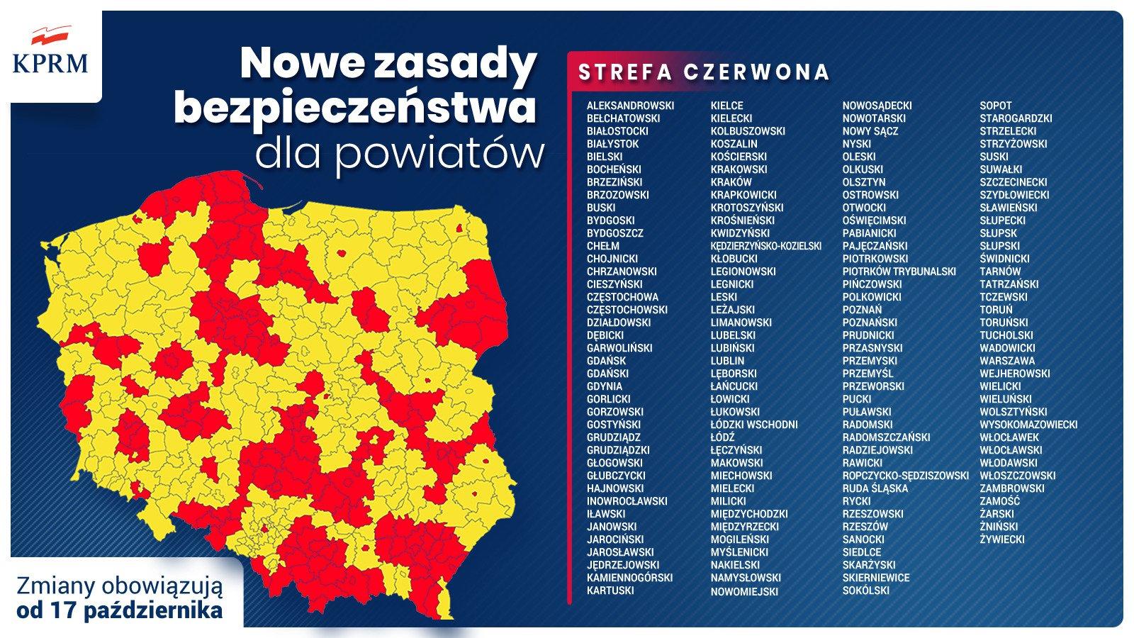 Strefa czerwona i żółta Covid-19 [MAPA] | 300Gospodarka.pl